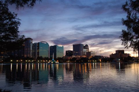 Stroll between skyscrapers and see them from lake Eola